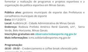 Inscrições abertas para o Seminário ICMS Esportivo em Belo Horizonte. Vagas limitadas!