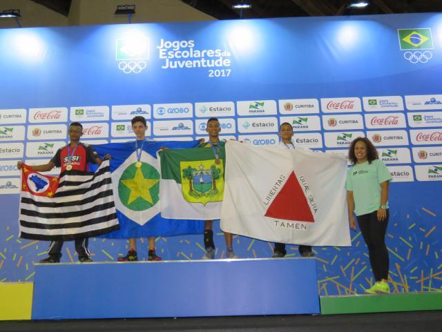O aluno-atleta Rafael Moura, medalhista da luta olímpica no JEJ. Foto: Marcus Cicarini/FEEMG