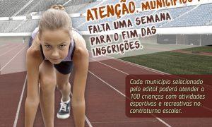 Falta uma semana para fim das inscrições municipais no Geração Esporte