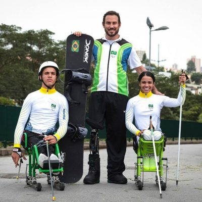 Cristian Ribera, Aline Rocha e Andre Cintra compuseram a equipe brasileira nas Paralimpíadas de Inverno em 2018 (Foto: Leandro Martins/MPIX/CPB)