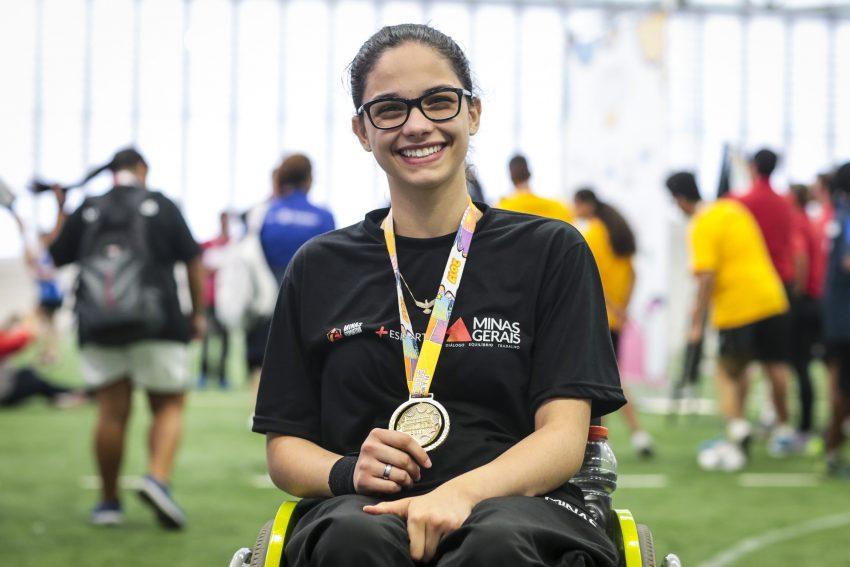 Maria Laura Freitas, ouro na classe 3 (para cadeirantes) nas Paralimpíadas Escolares 2017. (Foto: Leandro Martins/MPIX/CPB)