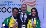 Juscelino dos Santos e Camile Marins, medalhistas brasileiros nos Jogos Sul Americanos Foto: Divulgação Federação Mineira de Fisiculturismo